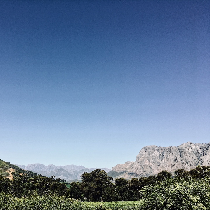 Looking out towards the Franschhoek Valley, Western Cape, South Africa.