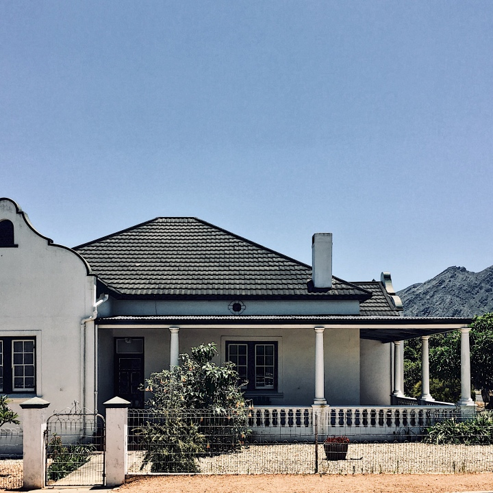 Cape Dutch style house, Franschhoek, Western Cape, South Africa.