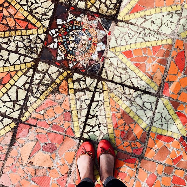 Mosaic floor in community garden in Wagga Wagga, NSW, Australia.