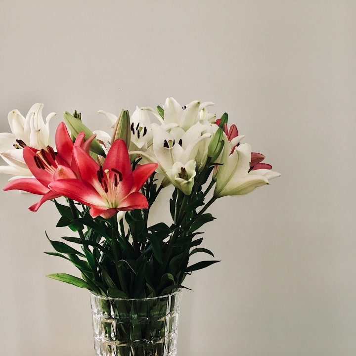 Vase of pink and white lilies.