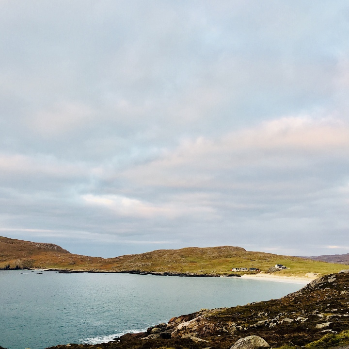 The view of Huisinis Beach, Isle of Harris, Scotland from the free campground