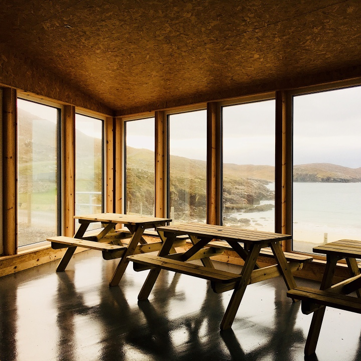 Picnic seating inside Huisinis Gateway, Isle of Harris, Scotland.