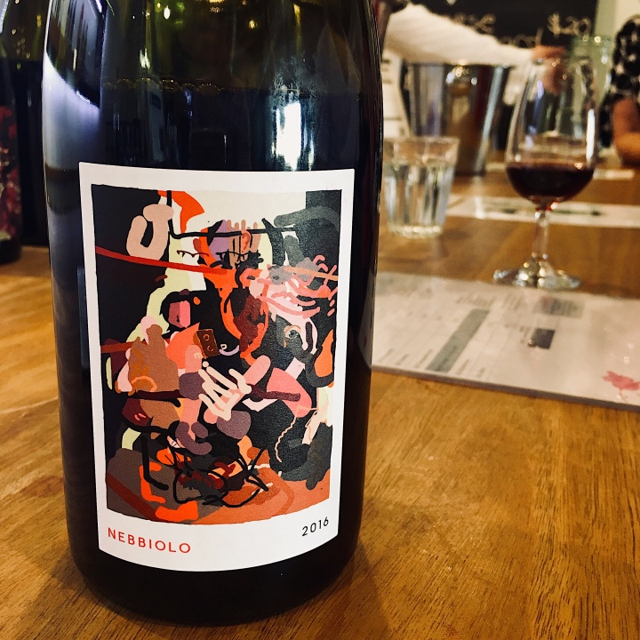 Bottle of CSU wine featuring a label by Australian artist, Tony Curran.