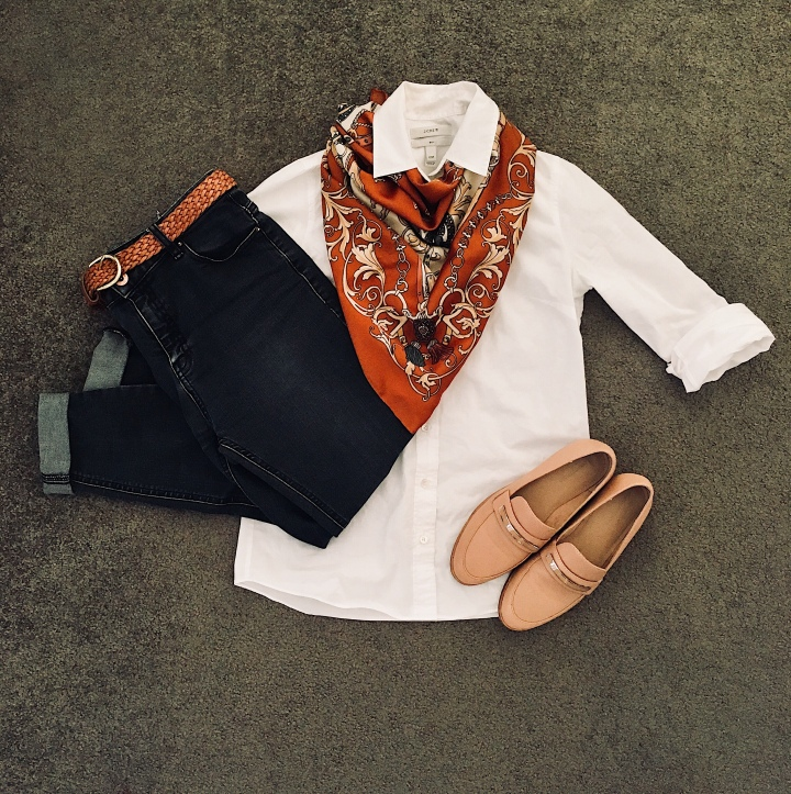 Black jeans, white shirt, nude loafers and tan silk scarf.