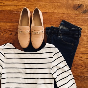 Blue jeans, black and white strip t-shirt and nude loafers.