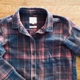 Navy and burgundy check shirt.