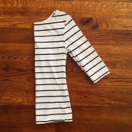 Black and white strip t-3/4 length t-shirt.