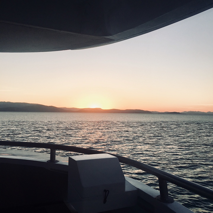 Sunset from the deck of a boat.