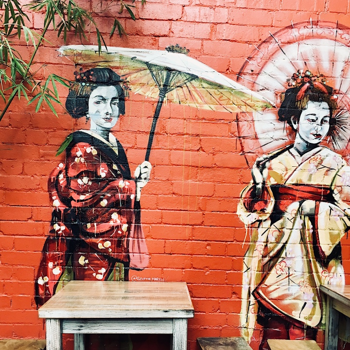Graffiti artwork of geisha in Spice Alley, Chippendale, New South Wales, Australia.