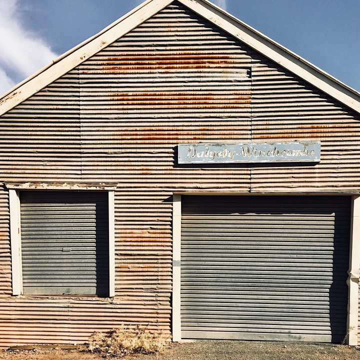 Old corrugated iron shed in a laneway in Temora, New South Wales, Australia.