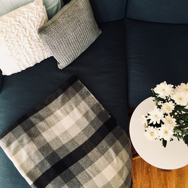 Dark blue lounge with grey, white and blue cushions, black,grey and white throw rug, and vase of white chrysanthemums.