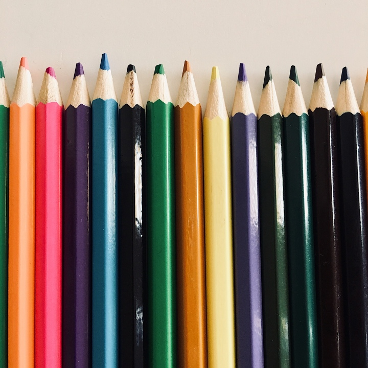 Line of colouring pencils.