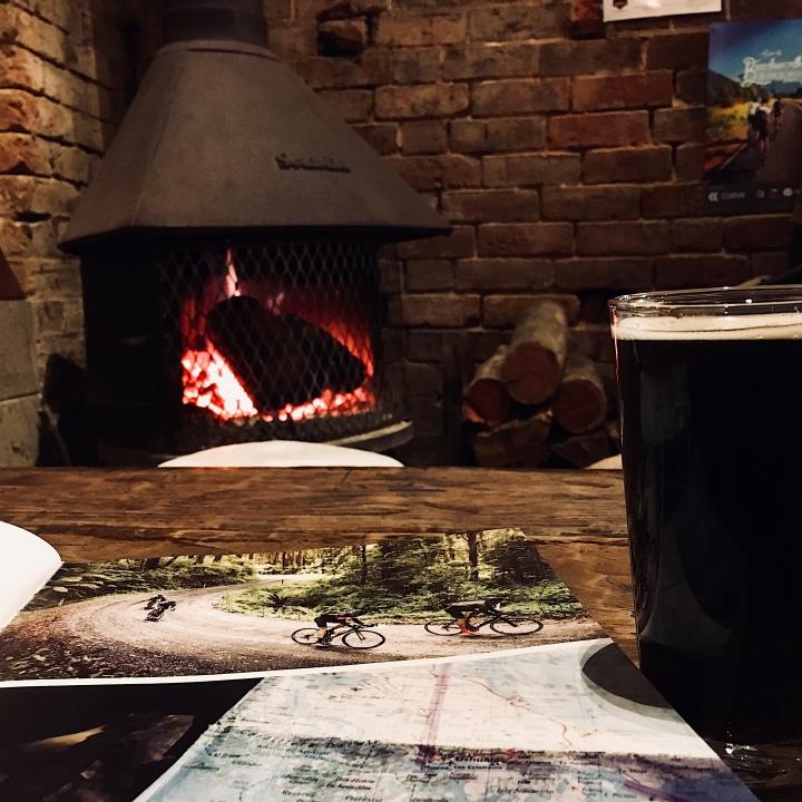 Beer, book and bonfire at Bridge Road Brewery, Beechworth, Victoria, Australia.