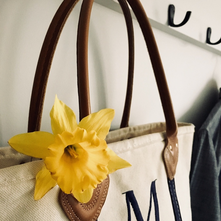 Daffodil poking out of a canvas bag hanging on a coat rack.