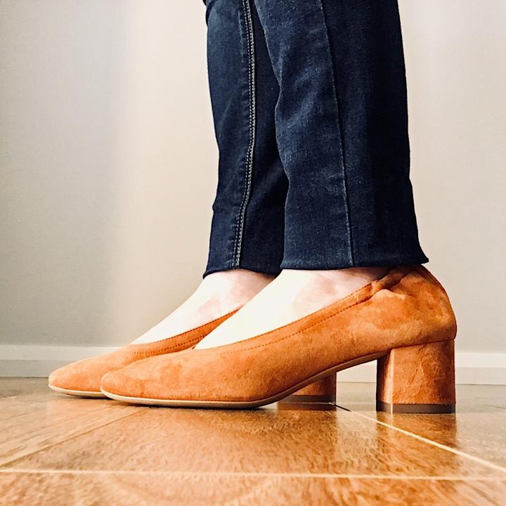 Everlane Day Heel in cognac suede.