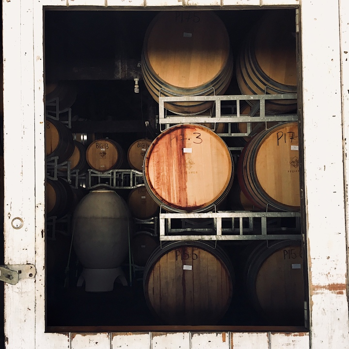 Barrels of wine at Pfeiffers Wines, Rutherglen, Victoria, Australia.
