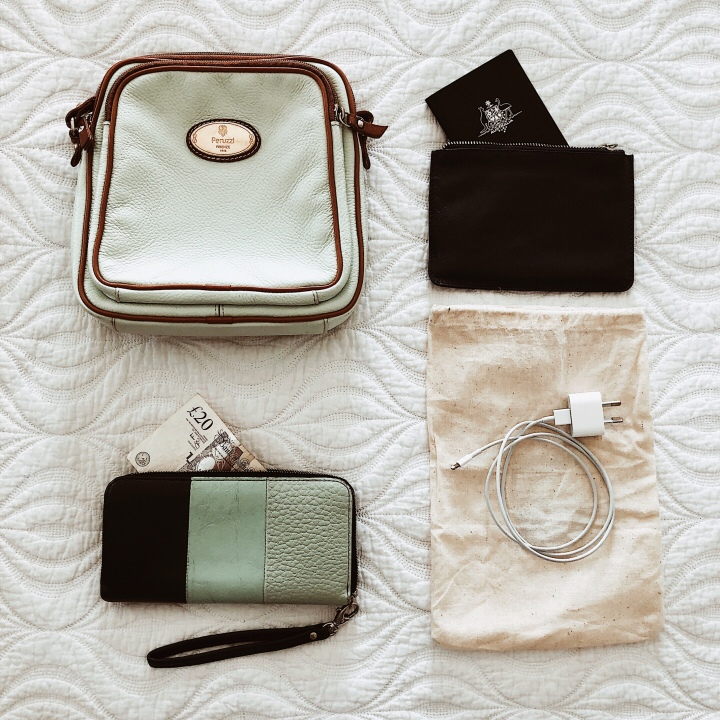 Flat lay of cross-body bag, purse, passport and phone charger.