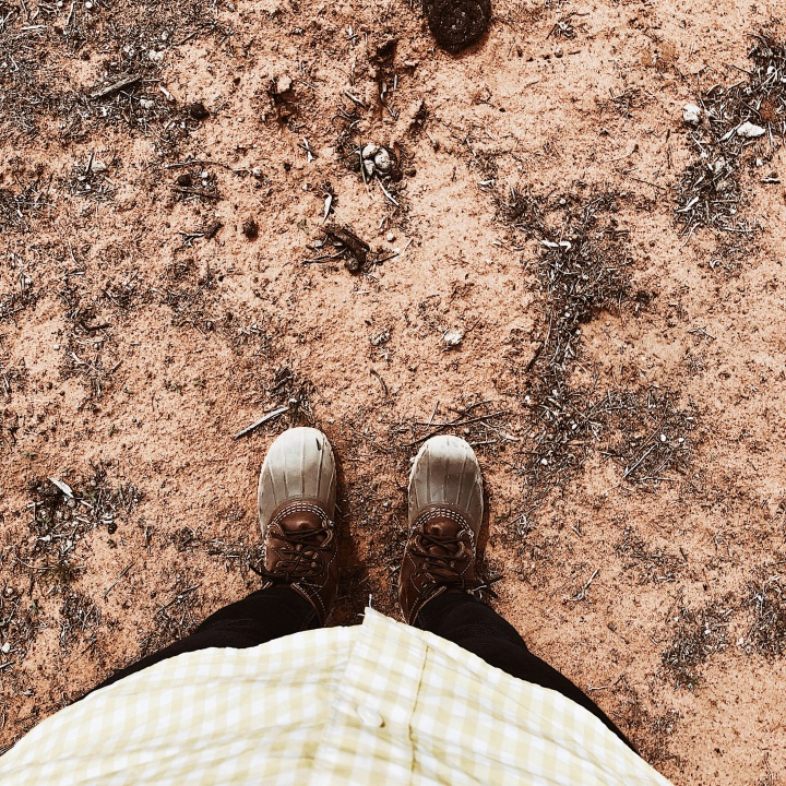 Looking down on a pair of dusty boots on bare earth.