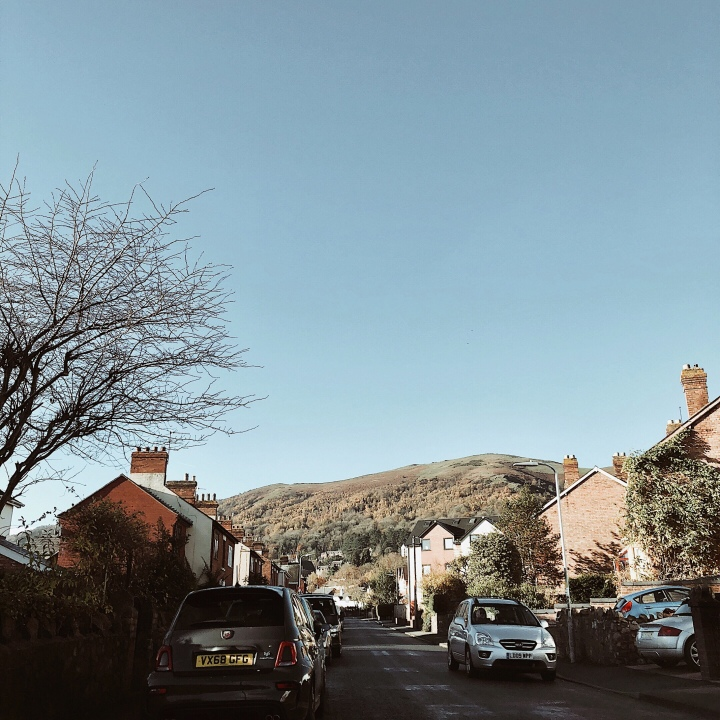 Looking up at the Malvern Hills from the town of Great Malvern, Worcestershire, England.