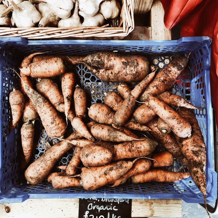 Carrots for sale at a farm shop in Worcestershire, England.