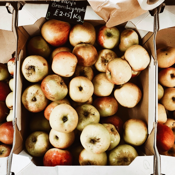 Bramley Apples for sale at a farm shop in Worcestershire, England.