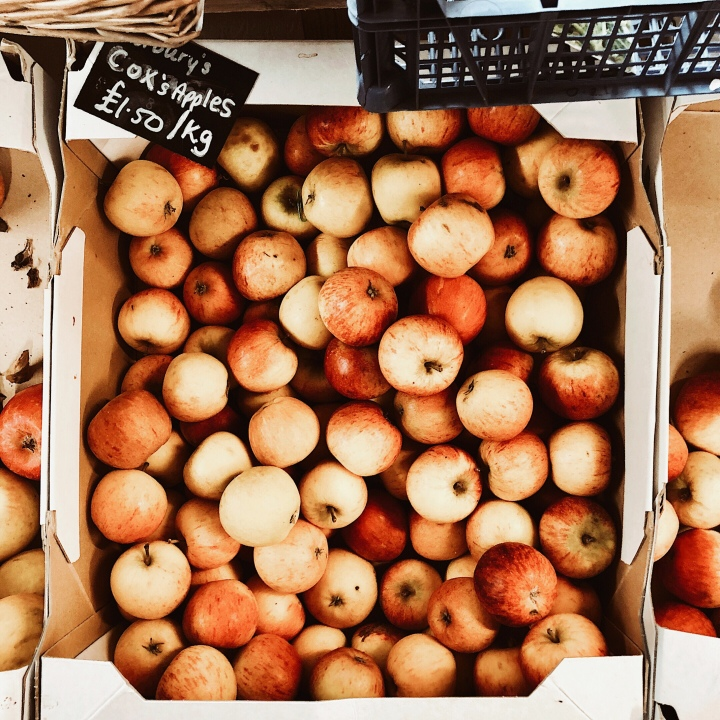 Cox's Apples for sale in a farm shop in Worcestershire, England.
