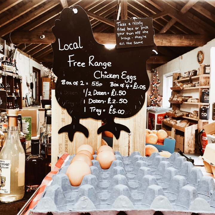 Eggs for sale at a farm shop in Worcestershire, England.