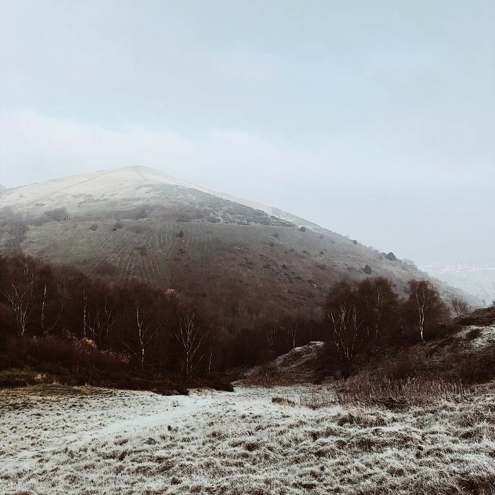 Frosty Malvern Hills in Worcestershire, England.