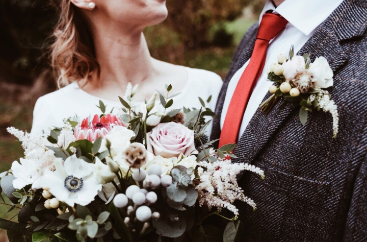 Bridal bouquet and groom's button hole.