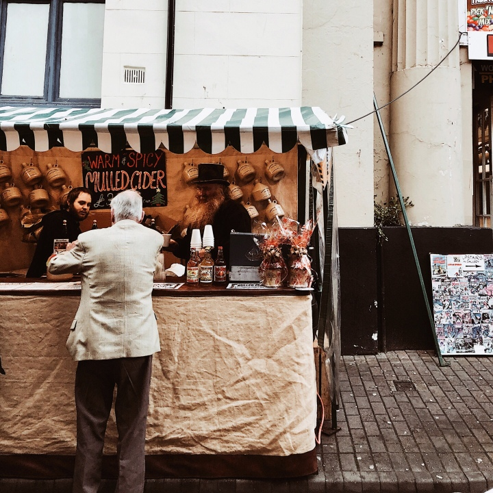 Mulled cider stall at the Worcester Christmas Fayre, England.