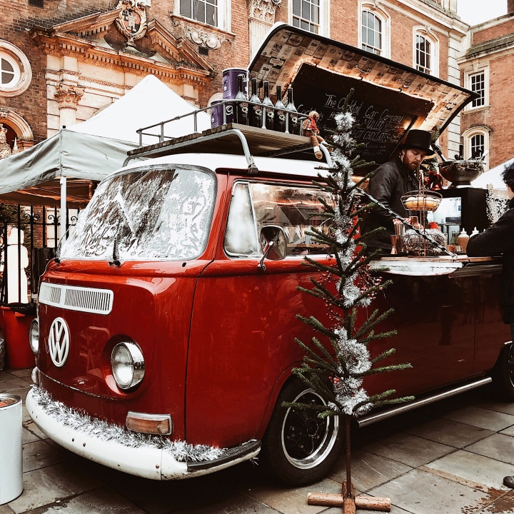 Kombi van stall at the Worcester Christmas Fayre, England.