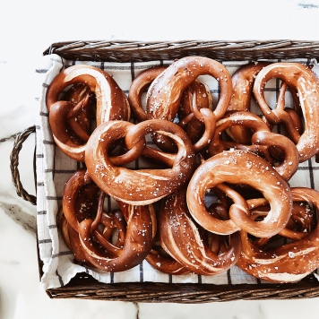 Basket of home made pretzels.