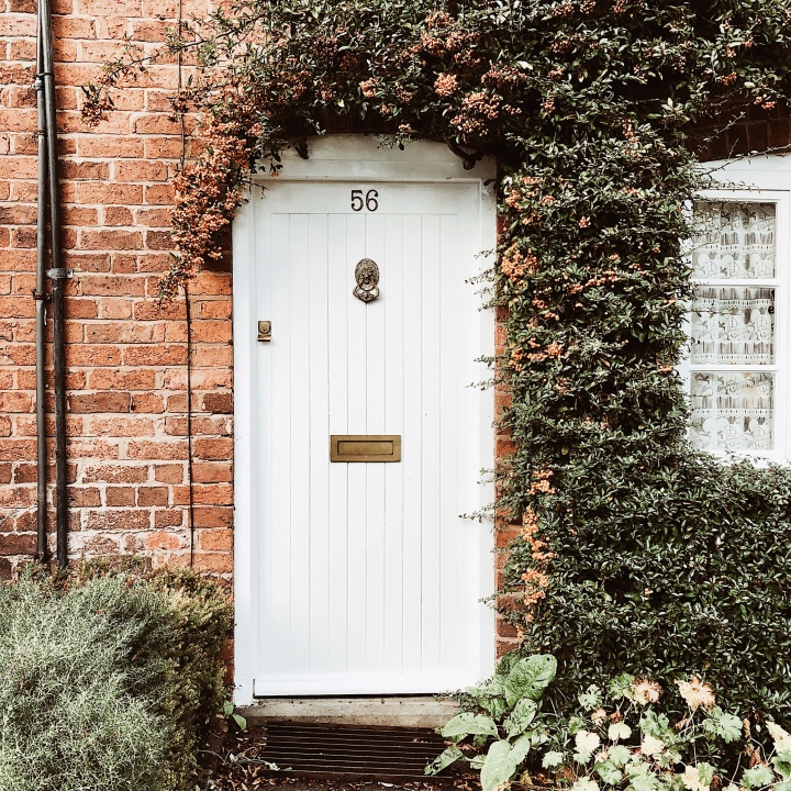 Front door to a cottage in Bewdley, Worcestershire, United Kingdom.