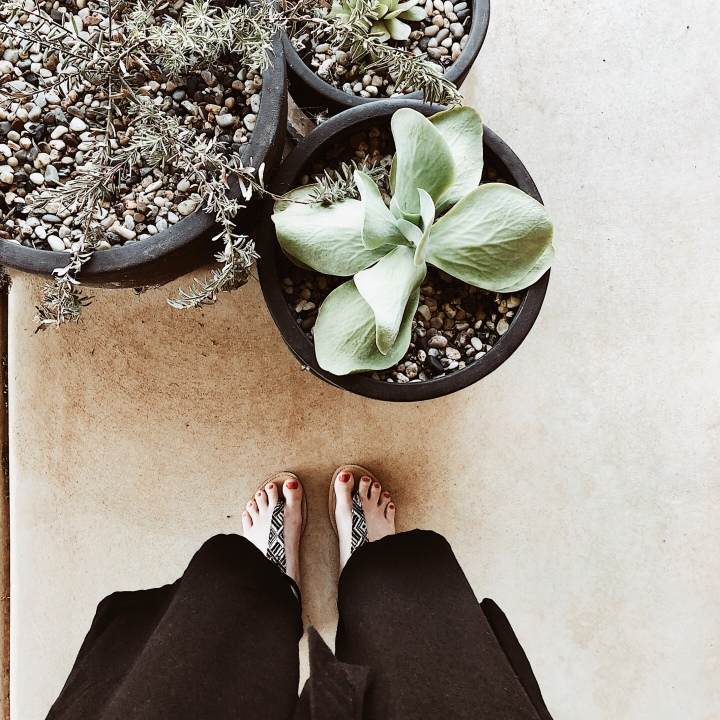 Looking down at woman wearing wide legged linen trousers, standing near pots of succulents.