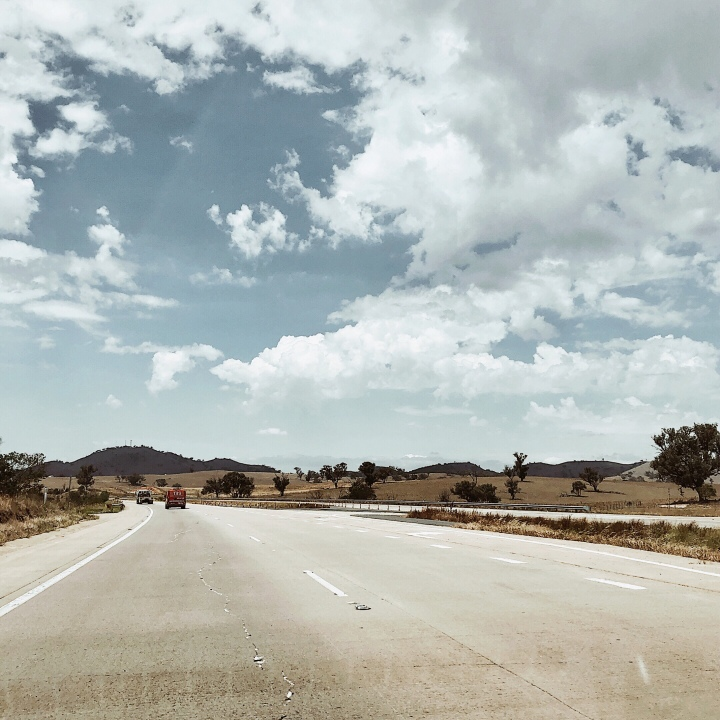 Driving along the Hume Highway in southern New South Wales, Australia.
