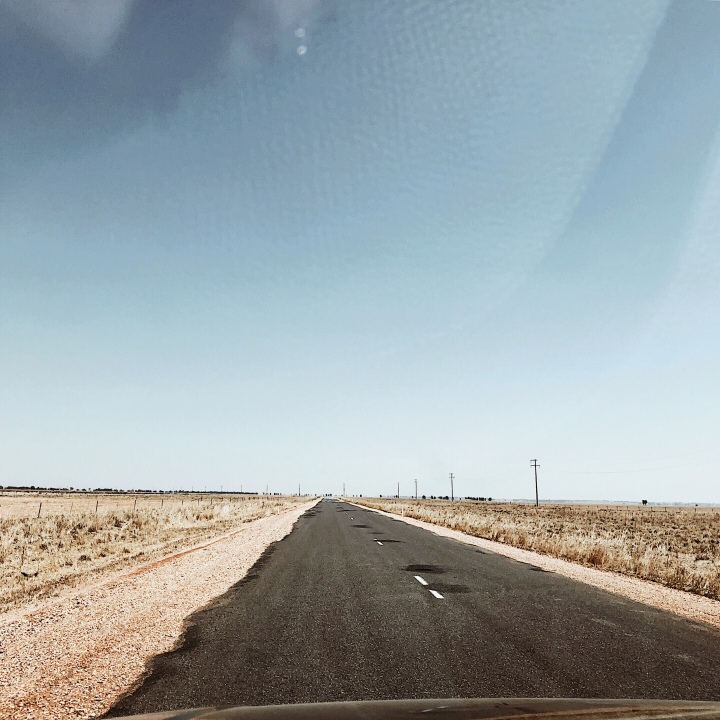 Empty road in the Riverina region of New South Wales, Australia.