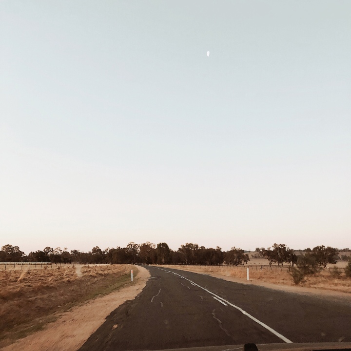 Country road in the Riverina region of New South Wales, Australia at dusk.