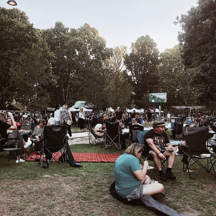 Crowds of people at Cork and Fork fest in Albury, New South Wales, Australia.