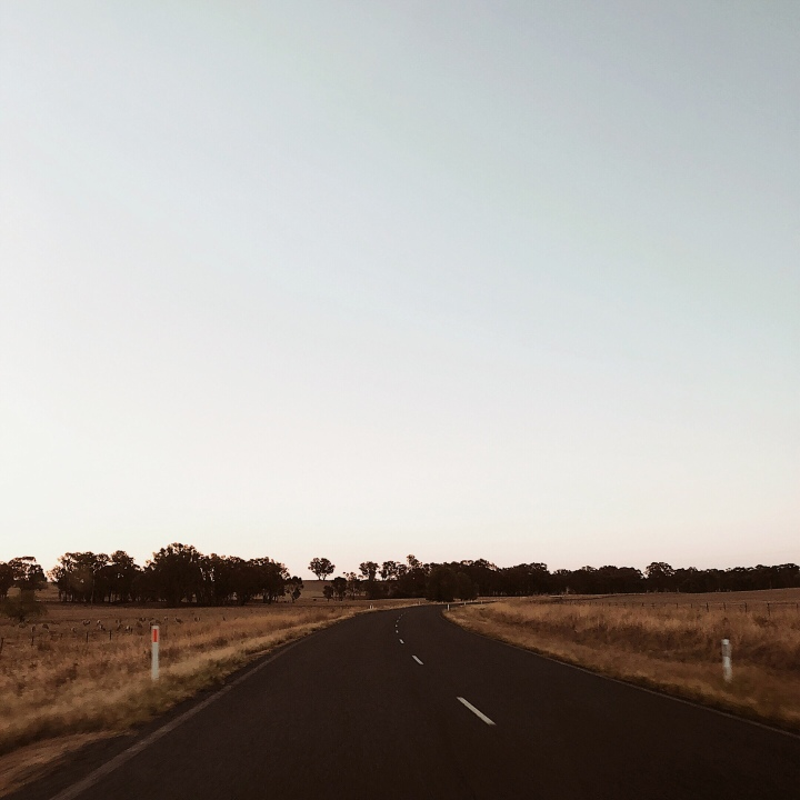 Twilight on a country road in regional New South Wales, Australia.