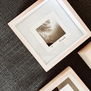 Framed black and white photograph.