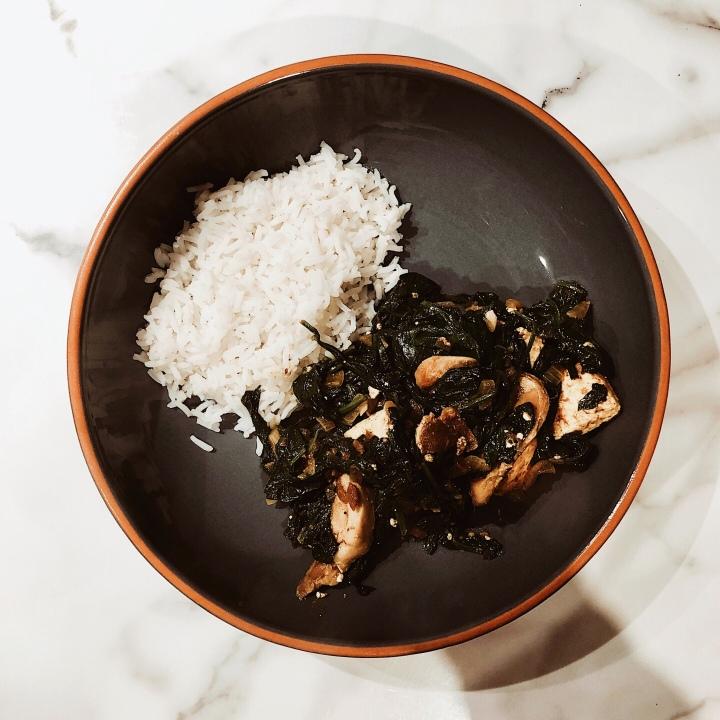 Saag paneer with basmati rice.