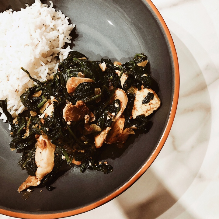 Saag paneer with steamed basmati rice.