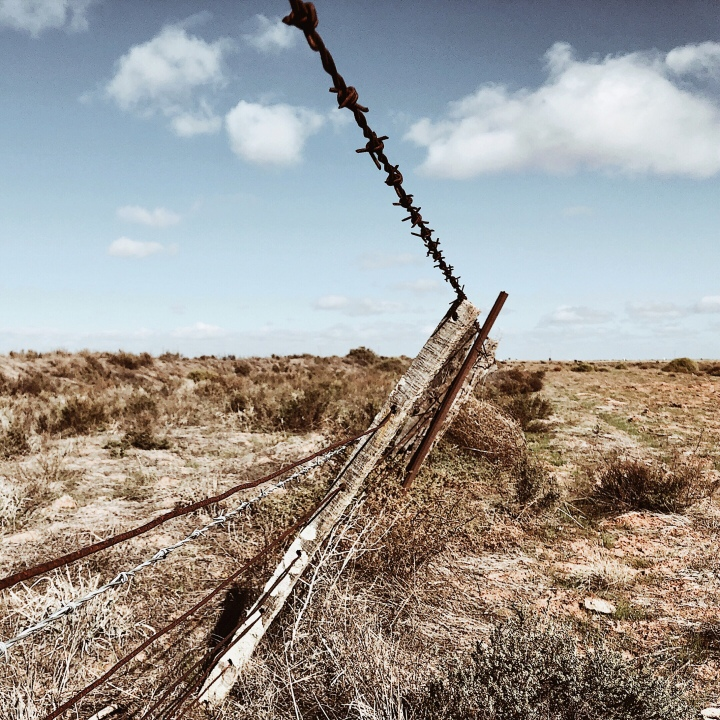 Barbed wire fence on the Hay Plains, New South Wales, Australia.