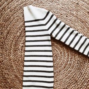 Ripe grid tunic in black and white stripe.
