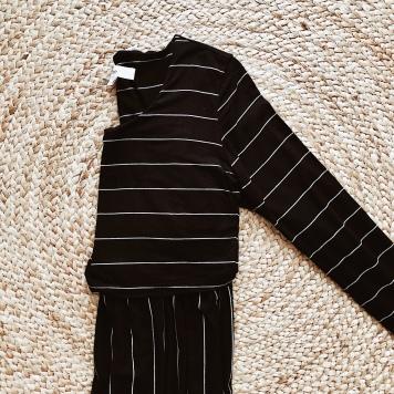Ripe crop top nursing dress in black and white stripe.