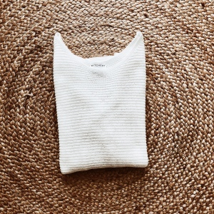 Witchery three-quarter length boat neck white knit.