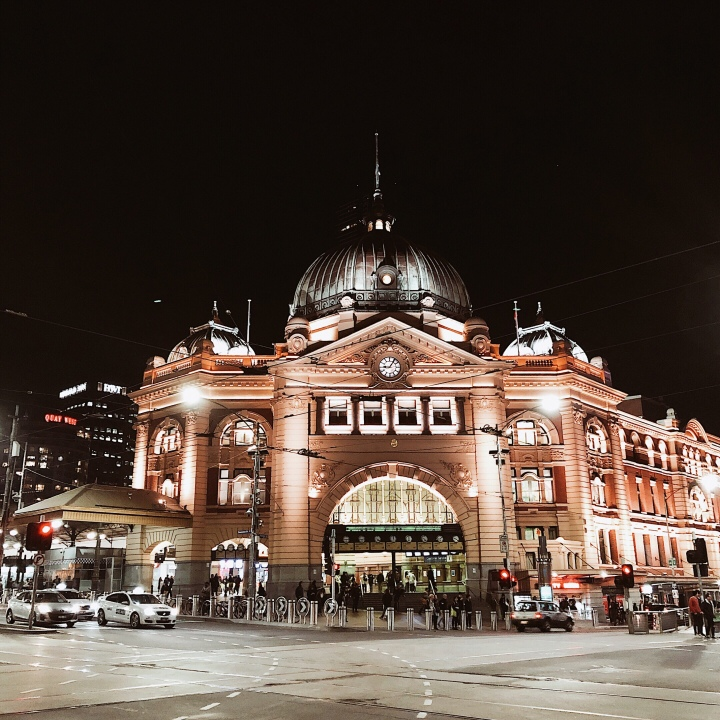 Flinders Street Station, Melbourne, Victoria, Australia at night.