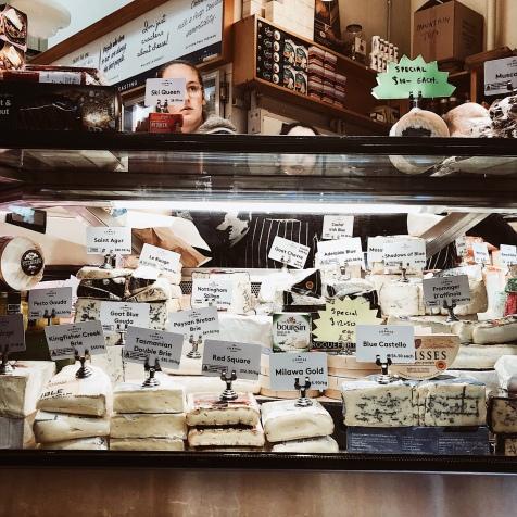 A cheese counter at the Queen Victoria Market in Melbourne, Victoria, Australia.