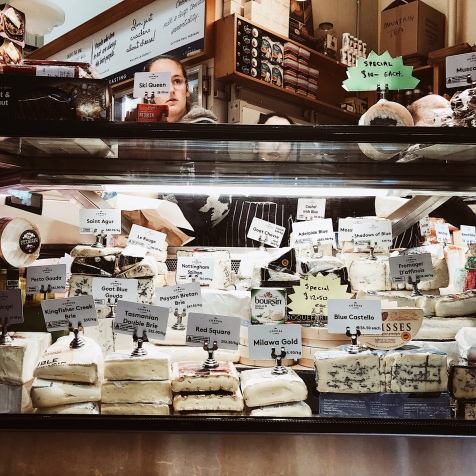 A cheese counter at the Queen Victoria Market in Melbourne, Victoria, Australia.