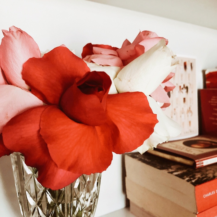 A bunch of pink, white and red roses sitting in a vase on a bookshelf.